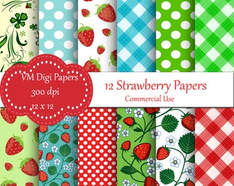 Strawberries Digital Paper, Strawberries Paper, Digital Paper Strawberries, Digital Paper, Strawberries Papers, Fruit Background  #7277