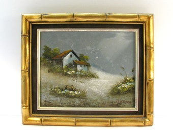 Original Framed Oil Painting - Nice Landscape With Barn On Overcast Day - Signed by Artist