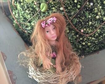 Teeny Tiny Flower Fairy  Tess, Tiny Fairy, OOAK Fairy - Ready To Ship