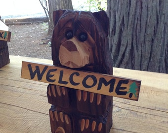 "Chainsaw Carved Bear 11 inch ""welcome"" plus two personalized signs"