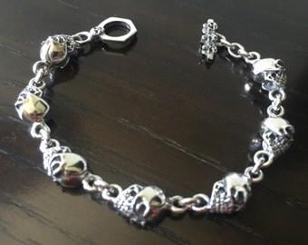 Mens  .925 Sterling Silver Heavy Skulls Bracelet Handmade.
