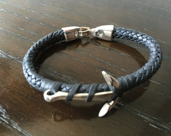 Mens woven leather bracelet 12 strips with .925 Sterling Silver Anchor and clasp Handmade.