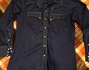 1970's Blue Rockmount Ranch Wear Shirt
