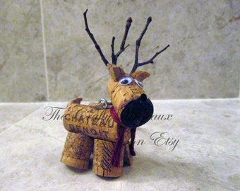 Rustic Deer, Reindeer Twine and Wine Cork Ornament, Christmas Ornament, Gift Tag, Wine Bottle Charm