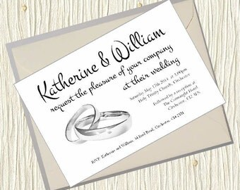 Personalised Wedding Invitations Rings Design 5x7 inch Card Invites with Envelopes Classic Shabby Chic Country Old Postcard Rustic Vintage