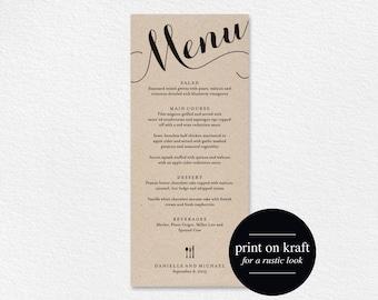 Wedding Menu Printable Template, Dinner Menu Printable, Wedding Menu Card, Menu Printable, Rustic Menu, PDF Instant Download #BPB133_4