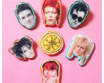 The Smiths/David Bowie/The Cure/The Stone Roses Handmade Glitter Pins