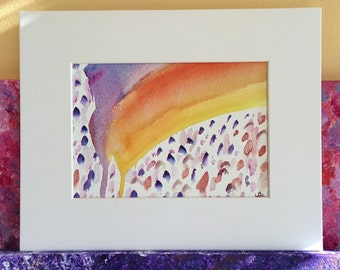 "Rainbow Drip, an Original Watercolor Painting Mounted and Matted (8""x10"")"