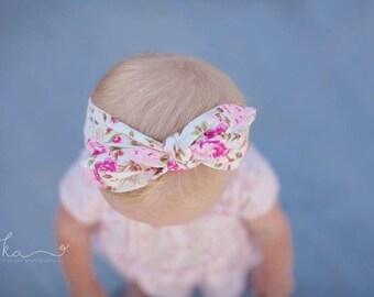 top knot headband - baby headband - knot baby head wrap - floral top knot headband - tie knot headband - headband - baby tie knot headwrap