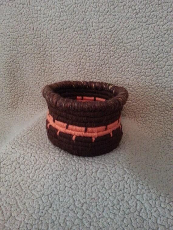 Medium Handwoven Autumn Coil Baskets / Bowls  w/ larger rim