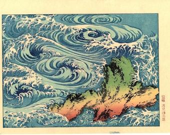 "Japanese Ukiyo-e Woodblock print, Katsushika Hokusai, ""Whirlpools at Awa no Naruto"""