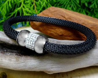 Black Stainless Steel Mesh Bracelet with Silver Crystal Donut Beads