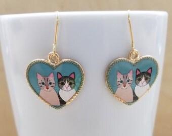 Gray & Brown Cat Mint Heart Earrings
