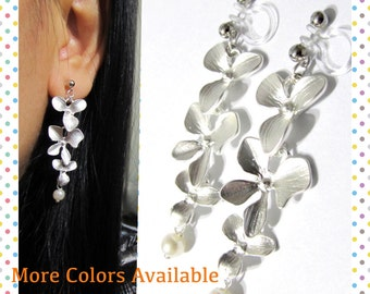 Floral Wedding Clip On Earrings |D3S| Matte Silver Cascading Dangle Clip Earrings Bridal Clip-ons Long Non Pierced Pearl Clip on Earrings