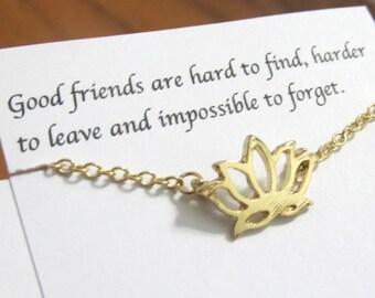 Dainty Lotus Flower Bracelet Friendship Flower Bracelet A5Gold Best Friend Bracelet Best Friend Gift For Friend Birthday Gift for friends