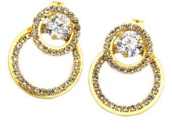 Fashion circle rim crystal earrings
