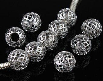 50 Silver Tone Mesh Spacer Beads Fit Charm Bracelet