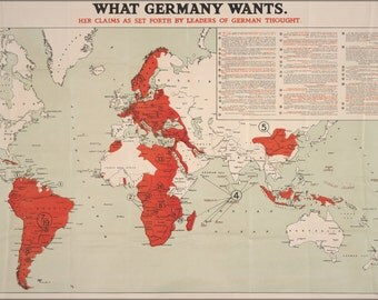 24x36 Poster . What Germany Wants Map Wwi World War One 1917