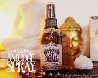 Smudge Spray *Sacred Space* with Essential Oils and Crystals -Juniper, Eucalyptus, Sage, Aquamarine & Himalayan Salt (1oz - 30ml)