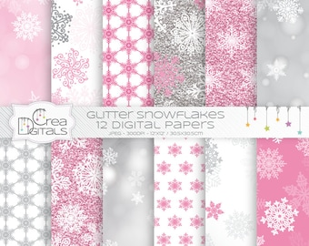 Pink glitter and bokeh snowflakes 12 digital papers - INSTANT DOWNLOAD