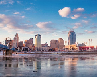 Cincinnati Cityscape,  Cincinnati Art, urban photography, Downtown Cincinnati, Icy River, Ohio River, city photography, city reflection