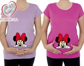 Maternity clothes, Maternity Clothing, Mickey Mouse Minnie Maternity Shirt, Pregnancy MATERNITY Shirt,Peekaboo, Peeking Minnie,Baby Peeking