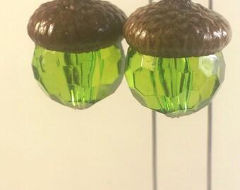 Fairy garden lights. Hanging lanterns. Set of 2. Miniature acorn cap lanterns. Dollhouse, terrarium décor. Green.