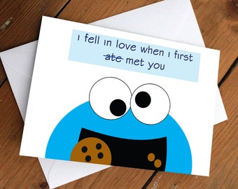 COOKIE MONSTER CARD // sesame street, blue, anniversary, love, valentines day, cute, celebration, greeting card