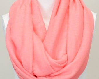 Basic Solid Infinity Scarf in Coral
