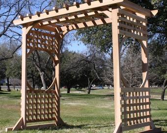 Brand New Spacious Colonial Style Cedar Garden Arbor - Almost 7 Feet Wide - Free Shipping