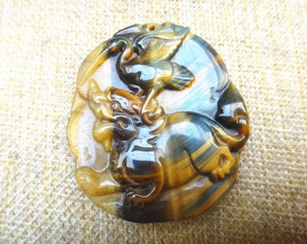 natural colorful Tiger Eye Pendant dragon turtle / red-crowned crane mascot talisman