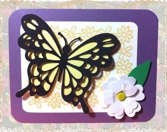 Butterfly Card, Thinking of You, Hello, Just Because, Happy Spring, Thank You, Get Well, Handmade Butterfly, Handmade Flower, CraftiqueCards