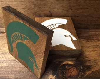 Michigan State Spartans Custom Wood Stained Coasters Michigan Set of 4 NCAA