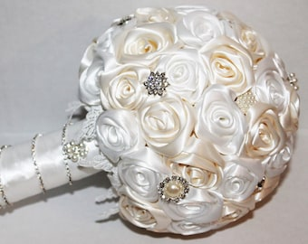 Satin Ribbon Roses Bridal Bouquet handmade