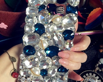 New Luxury Assorted Big Blue Clear Bling Lovely Fashion Charms Jewelled Crystals Rhinestones Diamonds Gems Hard Cover Case for Mobile Phone