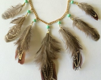 Feather & Mint Statement Necklace