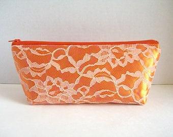 Satin And Lace Clutch - Bridesmaid Makeup Bag - Wedding Clutch - Orange Clutch - Bridesmaid Clutch - Peach Lace Clutch - Bridesmaid Gift