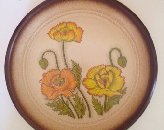 "1970's Japanese stoneware ""Peach Melba"" pattern dinner plate by Arta featuring poppies"