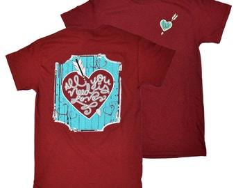Tees2urdoor Vintage Red All You Need is Love T-Shirt