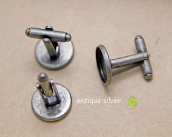 14mm Cufflink Blanks-14mm cuff link tray-Silver Plated Cuff link blank with 14mm Round Cabochon Setting-14mm bezel tray-Optional Glass-50pcs