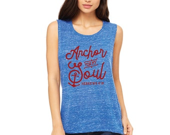 "Ladies, Vintage Blue ""Anchor For My Soul, Hebrews 6:19"" Muscle Tee"