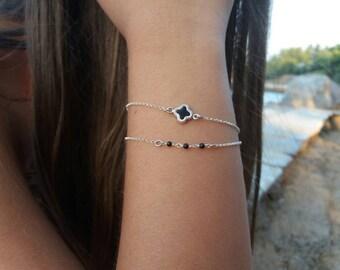 Silver bracelet, four leaf clover bracelet, layered bracelet, bridesmaid gift, layering bracelet,925 sterling silver, fish