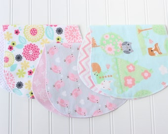 Baby Girl Burp Cloths - Set of 3