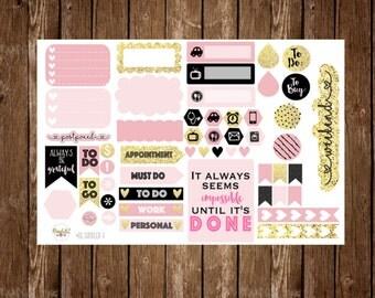 Item #RG-V GLOSSY Rose Gold Vertical Planner Sampler Stickers  (Perfect for Erin Condren)