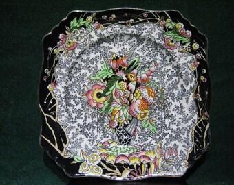 ROYAL WINTON GRIMWADES - Black/White Chintz Cake Plate, 1930's