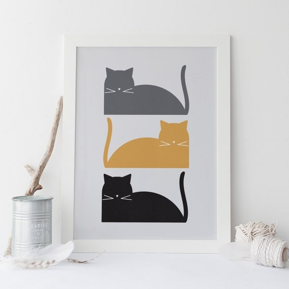 mid century modern cat poster print art high quality giclee print cats kitten ikea