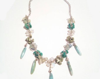 Amazonite drop necklace kambaba Jasper prehnite drop pendant charm handmade necklace Peacock opalite gemstones necklace unique blue green