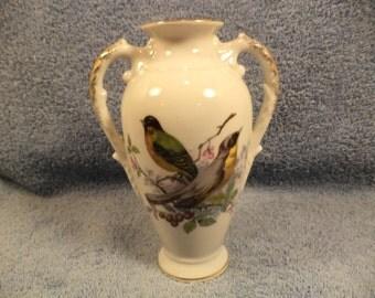 Bird Decorated Handled Vase