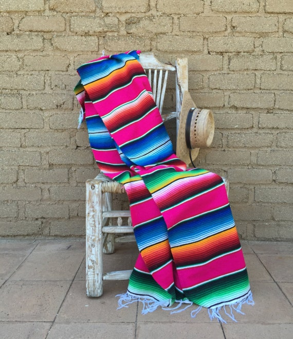 Mexican Serape Hot Pink Striped Blanket Throw Bed Covering