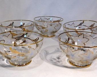 Set of 5 vintage bohemian glass dessert dishes